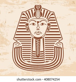 Vector illustration of Egyptian Pharaoh's mask on a beige background papyrus with the effect of aging.