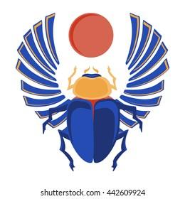 Vector illustration egyptian scarab beetle. Egyptian icons. Egyptian sacred bug a scarab a symbol of the sun