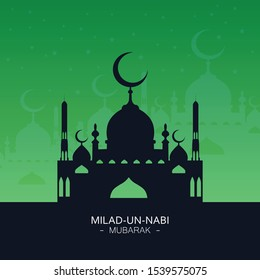 vector illustration of eid milad un nabi english meaning Birth of the Prophet. design with moon and black background