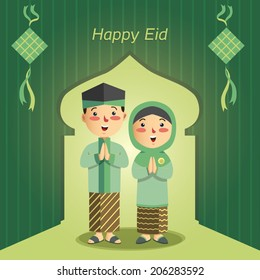 vector illustration of Eid Mubarak ( Blessing for Eid) with cartoon character