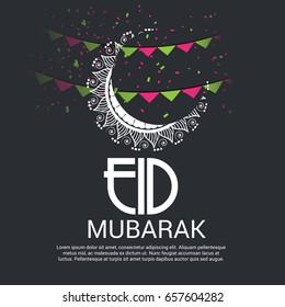 Vector illustration of Eid Mubarak with Creative Moon..