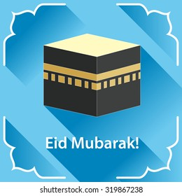 Vector illustration of Eid Mubarak. Saudi Arabia, Mecca, Kaaba (Black Stone)