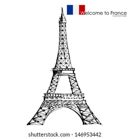 vector illustration of Eiffel tower against white background