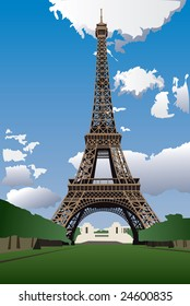 Vector illustration of Eiffel Tower from the Champ de Mars (Field of Mars)
