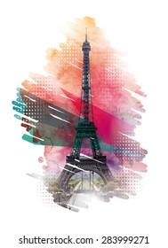 Vector illustration of Eiffel Tower in Paris, vector template for design t-shirts, graphics