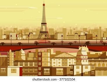 vector illustration of Eiffel tower in Paris cityscape