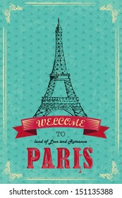 vector illustration of Eiffel Tower for retro travel poster