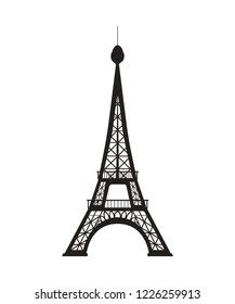 Vector illustration of Eiffel Tower silhouette on white background