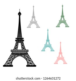 Vector illustration of Eiffel Tower symbol of Paris, France. Set of multicolored silhouettes isolated on white background
