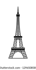 Vector illustration of Eiffel Tower symbol of Paris, France. Black silhouette isolated