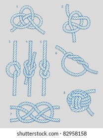 Vector illustration of eight knots.
