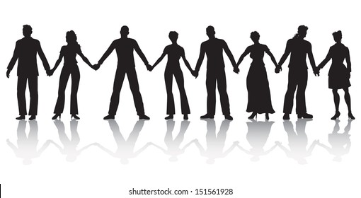 Vector illustration of eight people standing in a row holding hands.