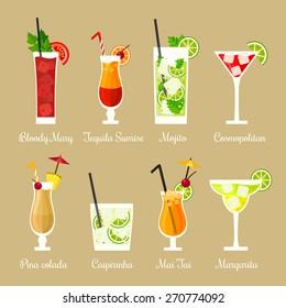Vector illustration of eight popular alcoholic cocktails: Bloody Mary, Tequila Sunrise, Mojito, Cosmopolitan, Pina Colada, Caipirinha, Mai Tai, Margarita in flat style