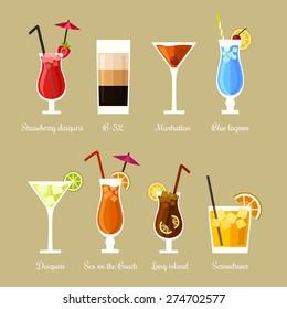 Vector illustration of eight popular alcoholic cocktails: Strawberry daiquiri, B-52, Manhattan, Blue lagoon, Daiquiri, Sex on the beach, Long island, Screwdriver in flat style