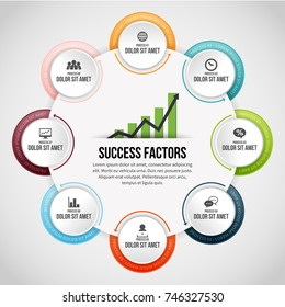 Vector illustration of Eight Process Circle Clips Infographic design element.