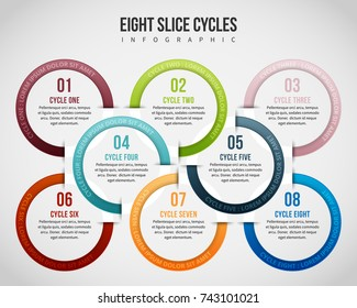 Vector illustration of eight slice cycles infographic design element.