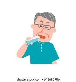 vector illustration of an elder man drinking water