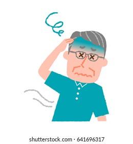 vector illustration of an elder man feeling dizzy