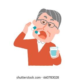 vector illustration of an elder man taking medicines