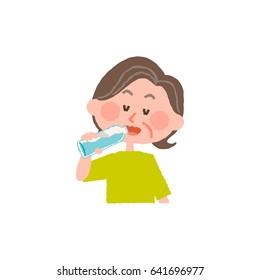 vector illustration of an elder woman drinking water