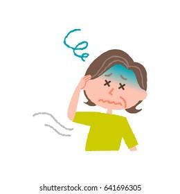 vector illustration of an elder woman feeling dizzy