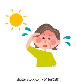 vector illustration of an elder woman with heatstroke