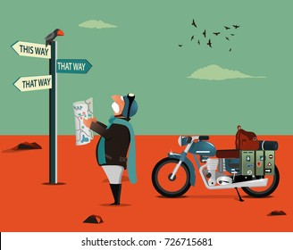 Vector illustration of elderly biker standing with map at post and navigating. Character  vector illustration.