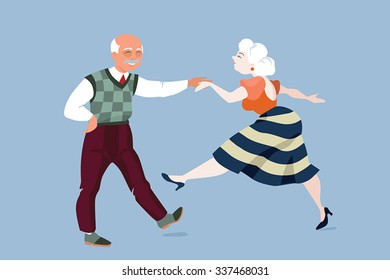 vector illustration of an elderly couple dancing funny dance