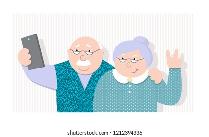 vector illustration elderly couple making selfie, old man and women are photographed, cartoon design