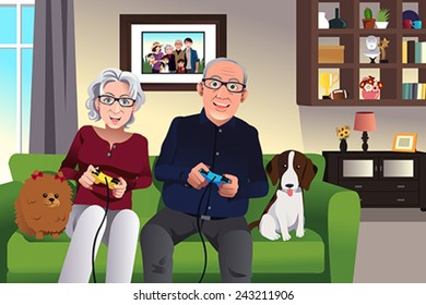 A vector illustration of elderly couple playing games at home