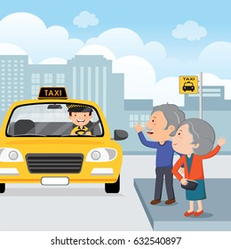 Vector illustration of an elderly couple waving to a taxi