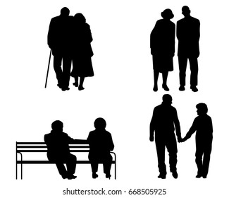 Vector illustration of a elderly couples silhouettes