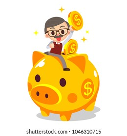 Vector illustration of elderly, grandpa riding on piggy bank with gold coins.