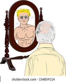 A vector illustration of an elderly man looking in the mirror and seeing himself  as a young muscular man.