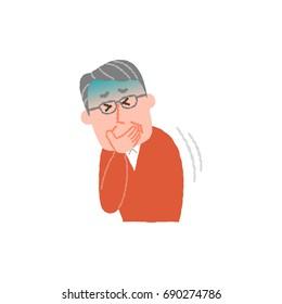 vector illustration of an elderly man nauseated