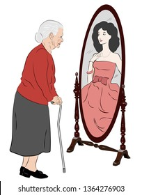 A vector illustration of an elderly woman with a cane looking in a mirror and seeing herself as she was when she was young.