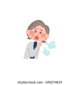 vector illustration of an elderly woman coughing