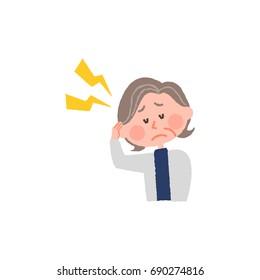 vector illustration of an elderly woman with headache