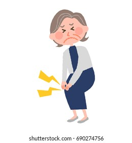 vector illustration of an elderly woman with a knee sore