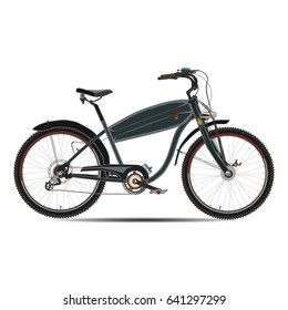 Vector illustration of electric bike isolated on white background. Flat style design.