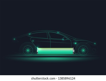 Vector illustration of the electric car lined silhouette with battery at the bottom. Electro mobility e-motion concept. Green power car. Eco technology vehicle.