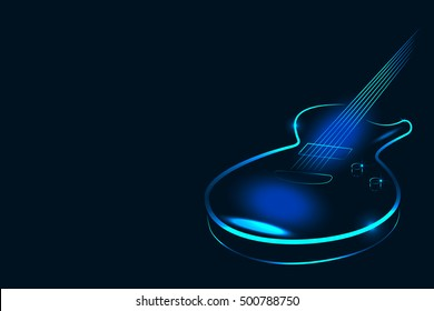 Vector illustration of electric guitar in neon