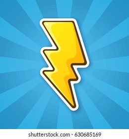 Vector illustration. Electric lightning bolt. Thunderbolt strike symbol. Sticker in cartoon style with contour. Decoration for greeting cards, patches, prints for clothes, badges, posters, emblems