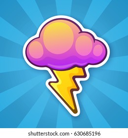 Vector illustration. Electric lightning bolt with cloud. Thunderbolt strike symbol. Sticker in cartoon style with contour. For greeting cards, patches, prints for clothes, badges, posters, emblems