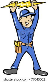 vector illustration of a electrician holding up an electric lightning bolt standing front  done in cartoon style on isolated background