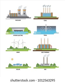 Vector illustration of electricity & energy sources nuclear, thermal, tidal & renewable energy sources.