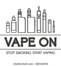 Vector illustration of electronic cigarette for vape shop and vape service, e-cigarette store, isolated on white background. Vape trend. E-cig icons set. Vape on