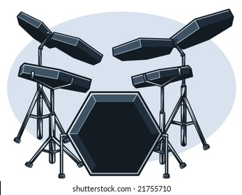 vector illustration of an electronic drum set