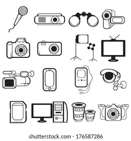 A vector illustration of electronic equipment icon sets
