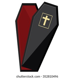 Vector illustration elegant black coffin with cross. Opened coffin with red cloth inside